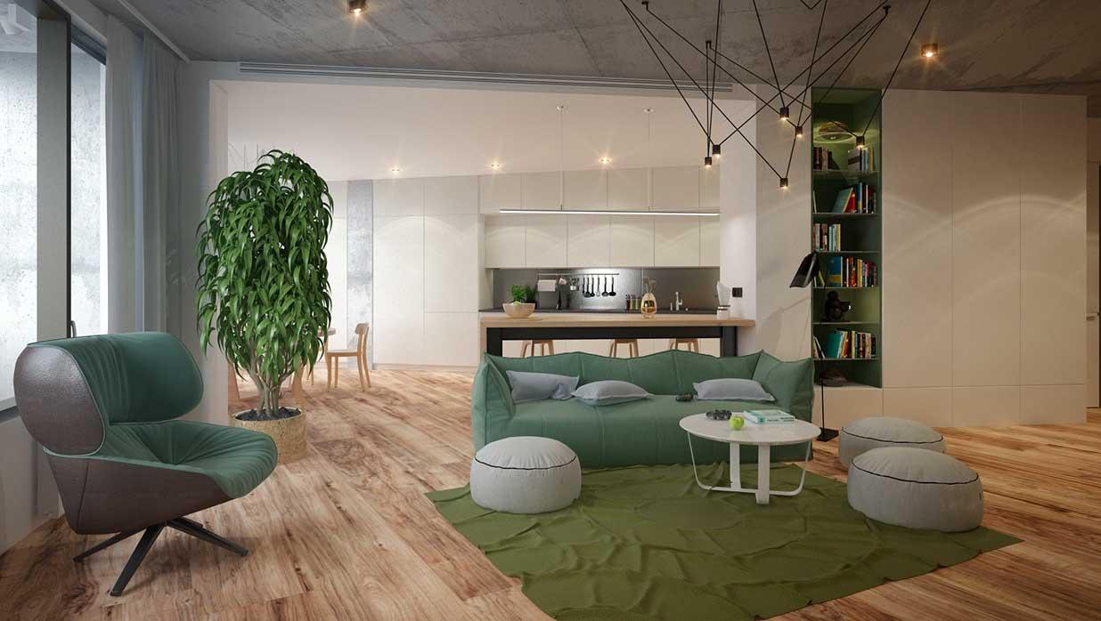 Yeşil salon dekorasyonu