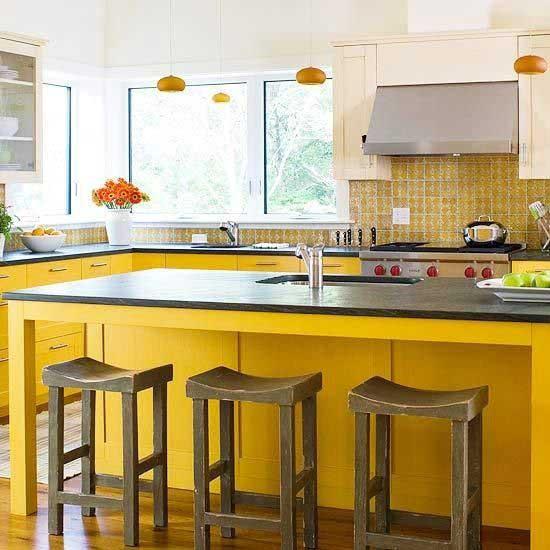 Sarı renk mutfak dekorasyon örneği