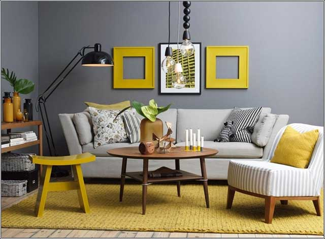sarı ve gri oturma odası