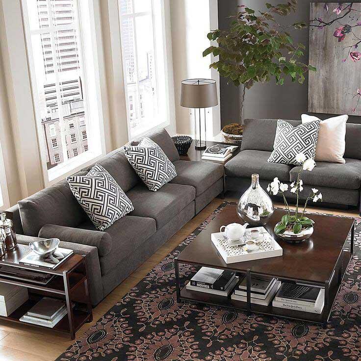 L Shaped Living Room Dining Room Furniture Layout: ADIM ADIM GRİ SALON DEKORASYONU