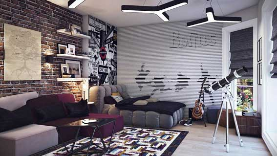 Modern genç odası dekorasyonu