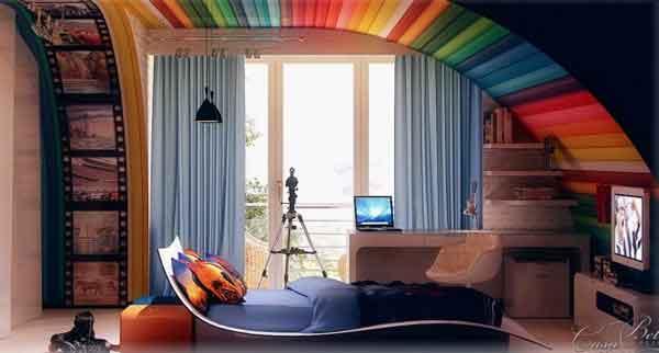 Rengarenk genç odası dekorasyonu