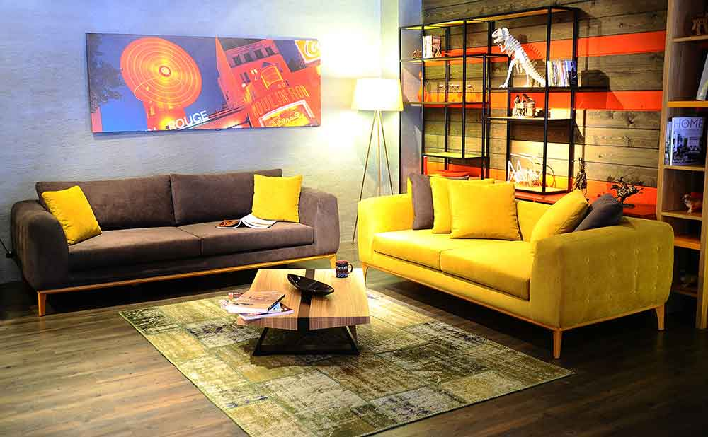 sarı ve gri koltuk takımı