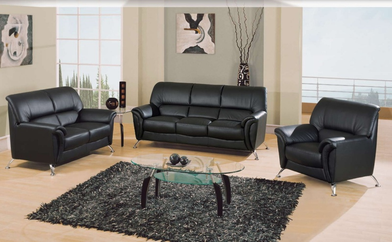 siyah deri koltuk takımı modeli ile modern-oturma odası dekorasyonu fikirleri