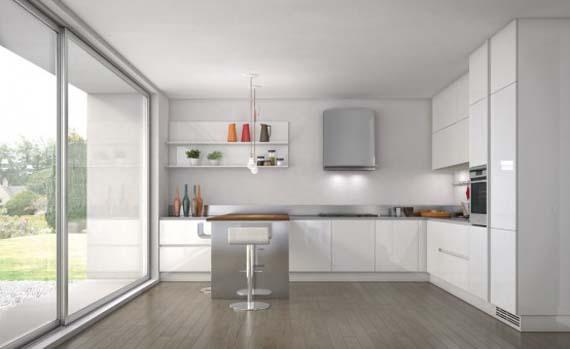 beyaz renkli modern mutfak dekorasyonu 2018