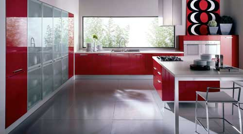 kırmızı modern mutfak dekorasyonu