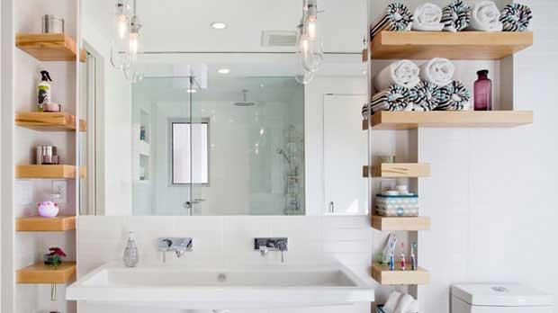 küçük banyolar için raf önerisi