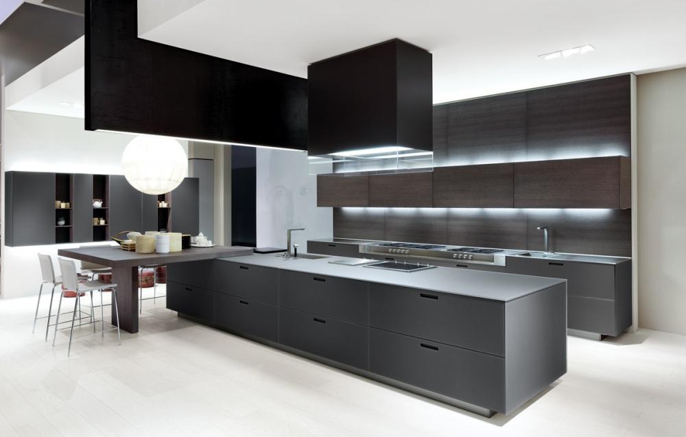 modern kahve gri ve siyah renklerle mutfak dekorasyonu 2018
