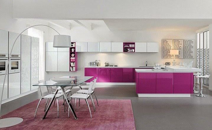 modern renkli açık mutfak tasarımları 2018