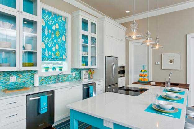 turkuaz beyaz modern mutfak modelleri
