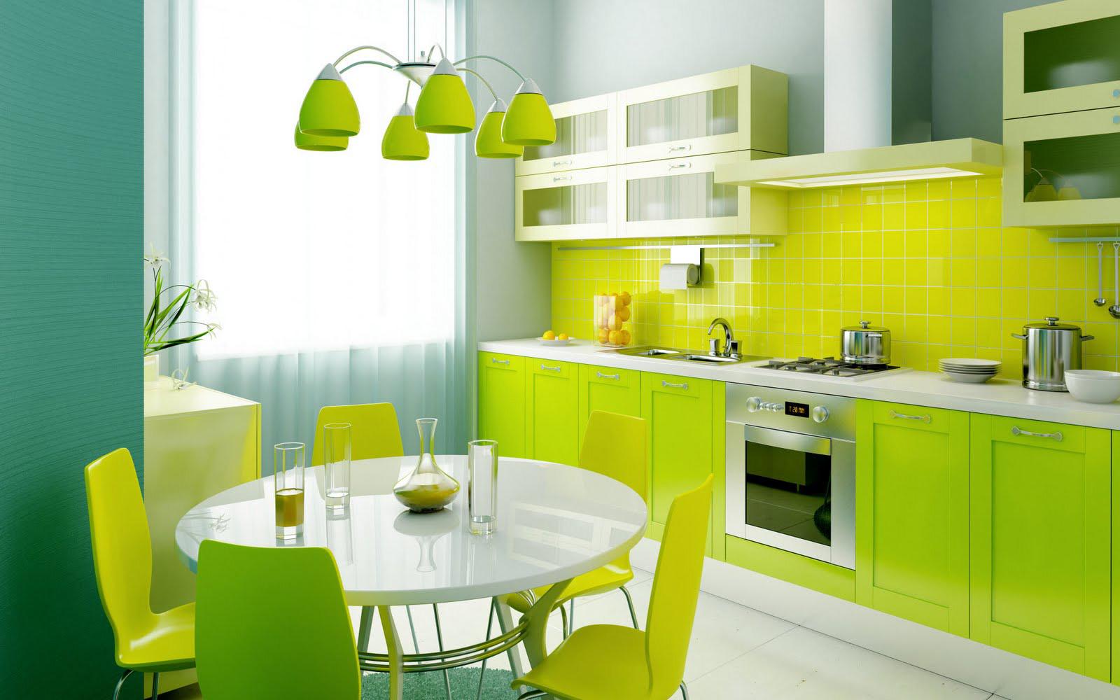 Renkli yeşil Mutfaklar