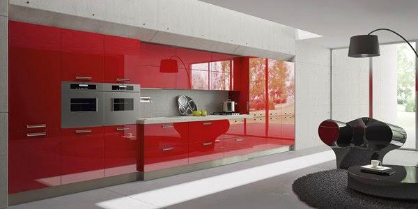 akrilik kırmızı mutfak dolapları modelleri