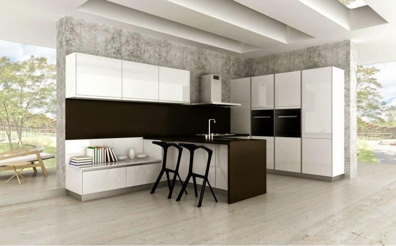 akrilik siyah beyaz mutfak dolapları modelleri