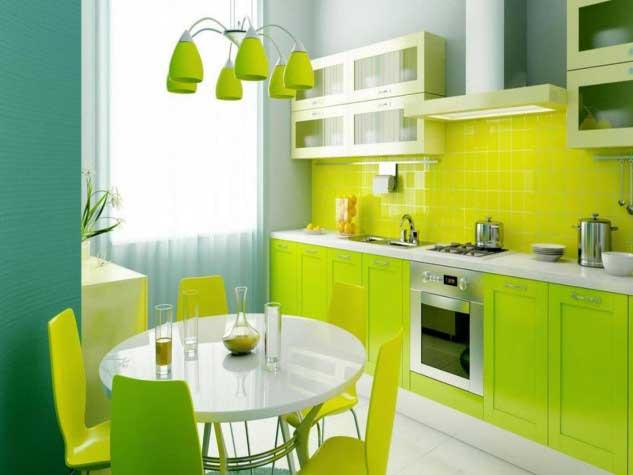 limon sarısı ve yeşil mutfak dekorasyonu