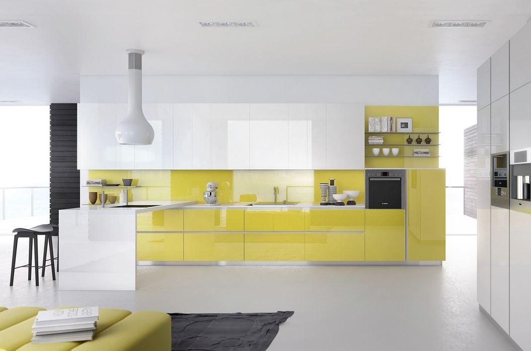 parlak sarı ve beyaz italyan mutfak dolaplari ve dekorasyon 2018