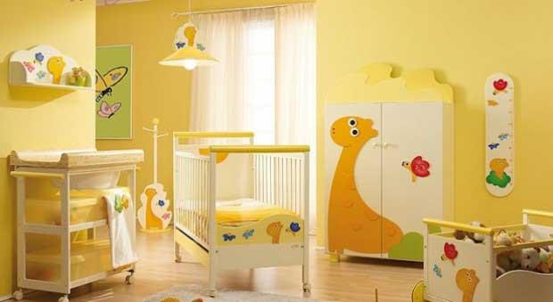 sarı renk bebek odası modeli