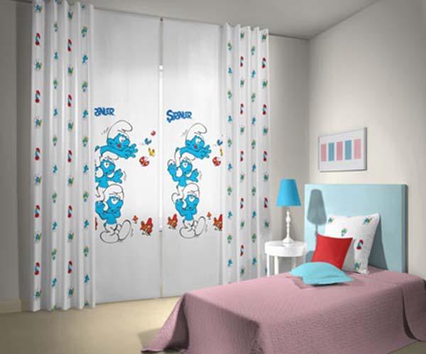 Şirinler-Desenli-Taç-Marka-Bebek-Odası-Perde-Modeli