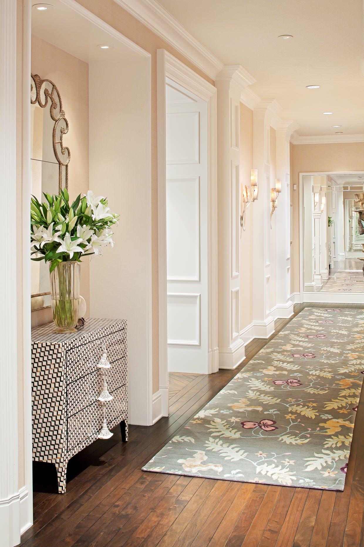 how-to-decorate-narrow-entryway-hallway-entrance-home-cream-peach-moulding-ideas-long-carpet-rug-inspiration-pot-lights-barn-floor-