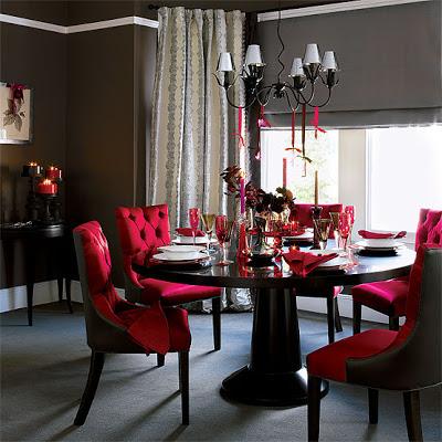 kırmızı yemek odası