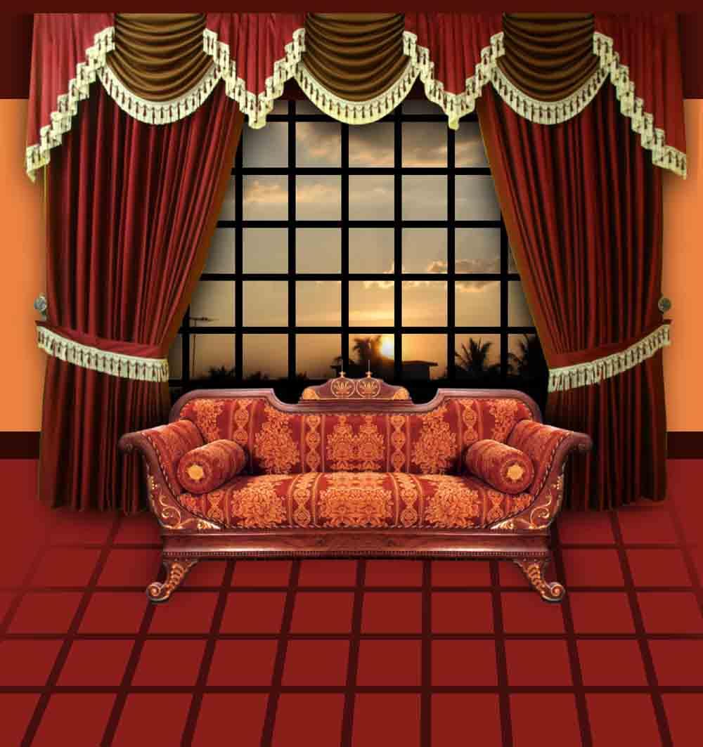 oturma odası içi kırmızı perde modeli