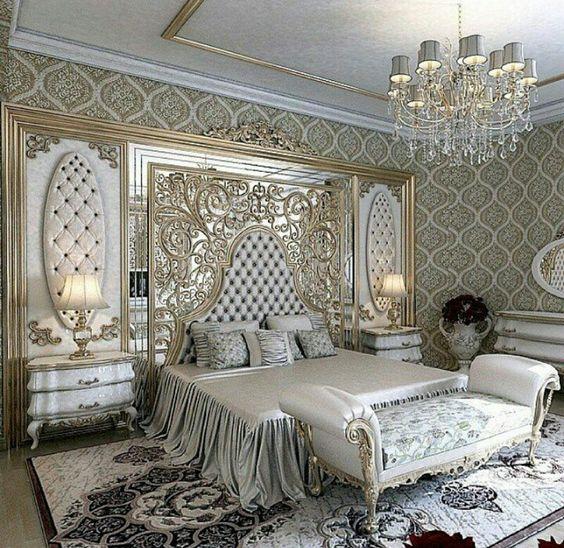 gümüş varaklı lüks yatak odası modelleri