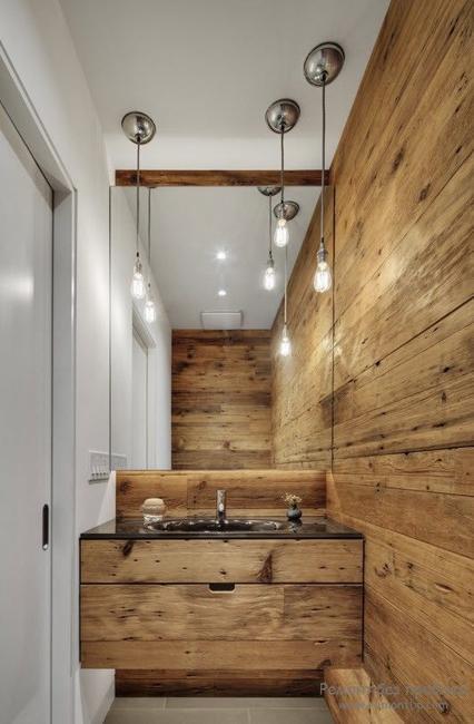 modern ahşap banyo dekroasyonu