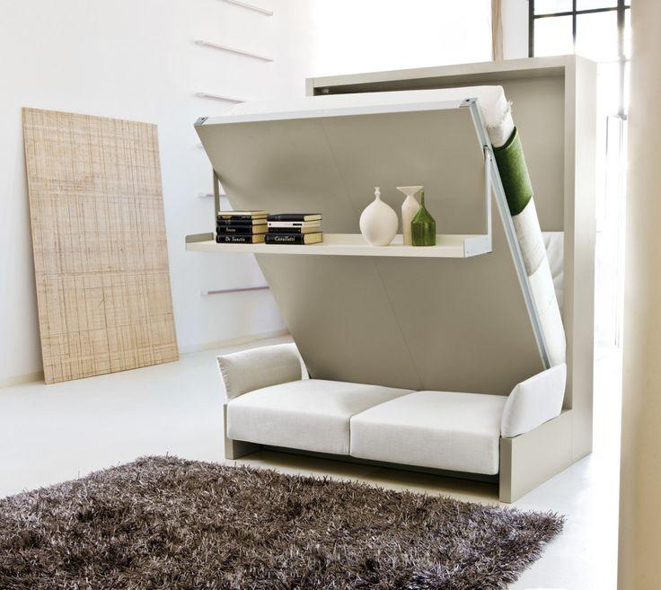 oturma odasına dönüşen Fonksiyonel duvar dibi yatak modelleri