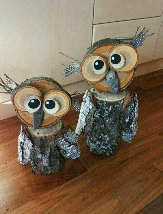 ağaç kütüğünden baykuş yapımı