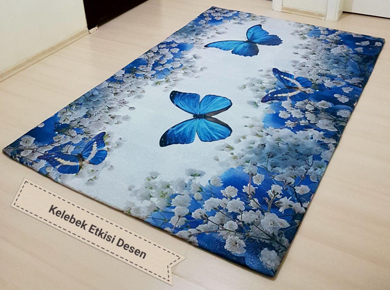 Amazing Kelebek Etkisi Mavi Dijital Desenli Lastikli Halı Örtüleri
