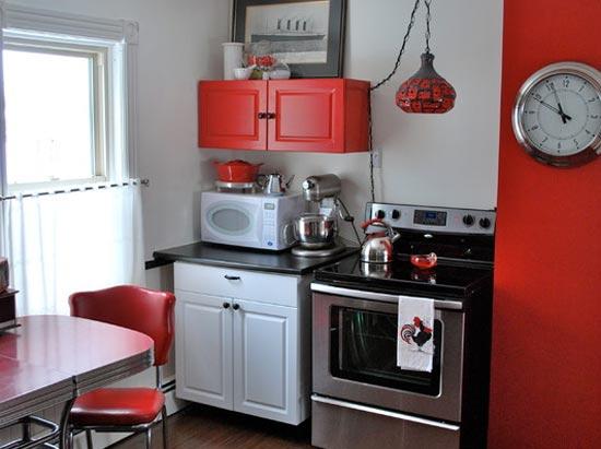 Amazing kirmizi-mutfak-metal-aksesuar küçük mutfaklar için eşya seçimi