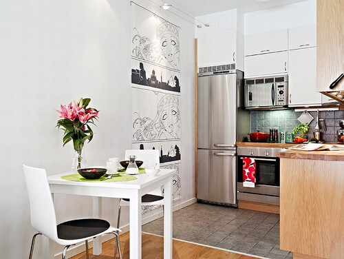 Modern Bir de tezgahınızı daha rahat küçük mutfaklar için eşya seçimi