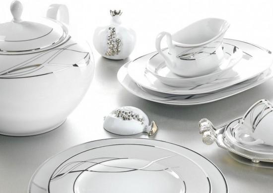 Trending gümüş desenli modern kütahya porselen Modern Yemek Takımları