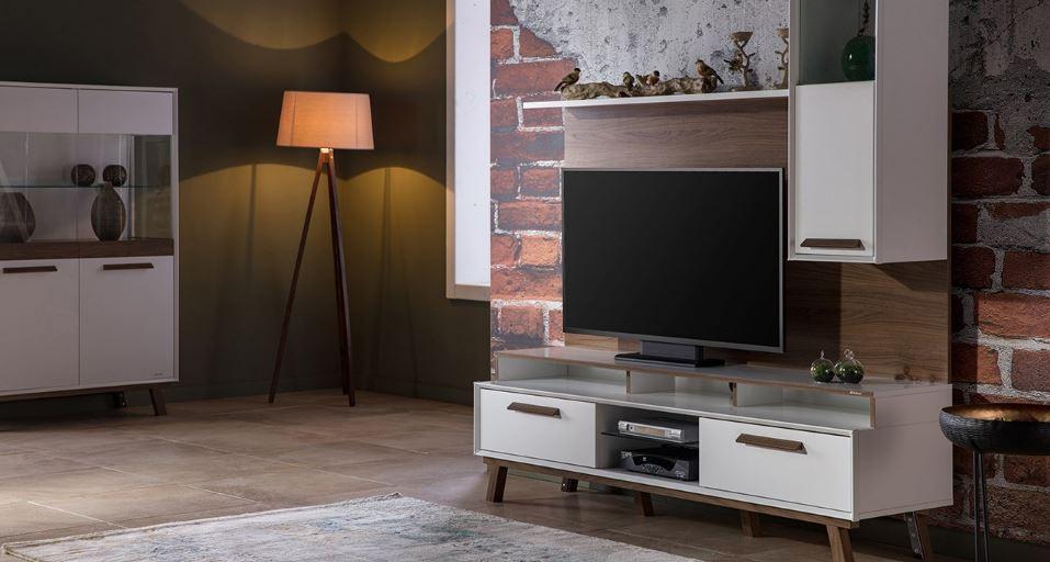 Cute Nella tv ünitesinde beyaz ve 2018 İstikbal TV Ünitesi Modelleri
