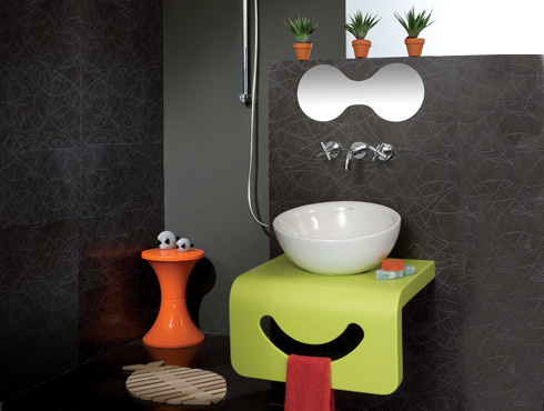 Cozy kale-boo-akrilik-yeşil-pembe-çocuk-banyo-dolabı. Çocuklar İçin  Banyo Dekorasyonu