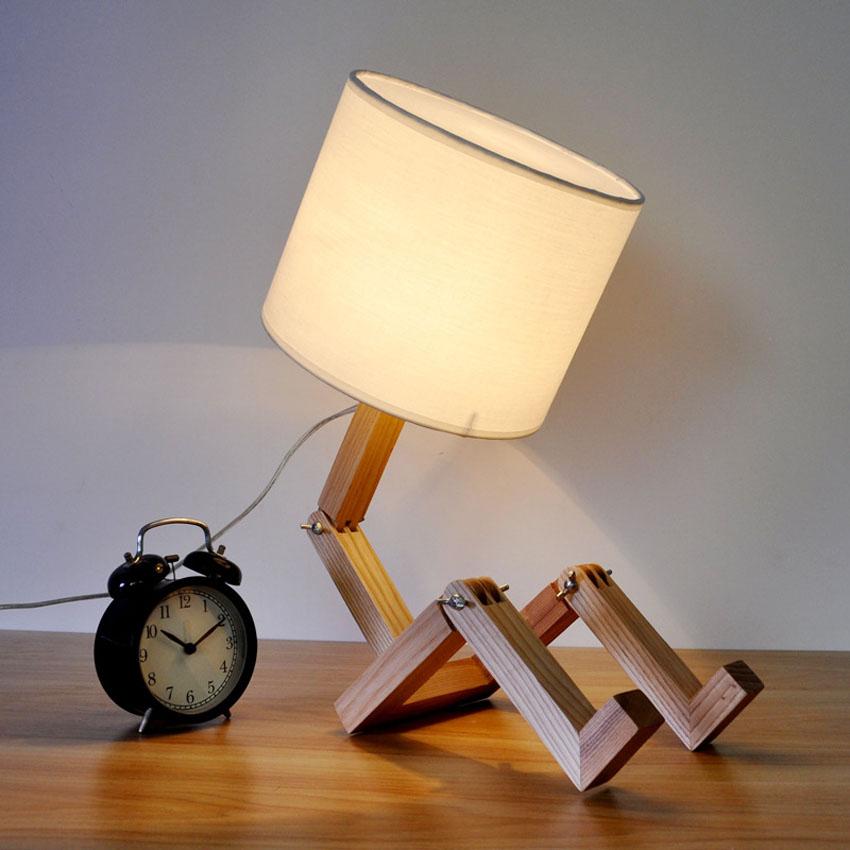 Modern Basit Katlama tarz ahşap masa lambası
