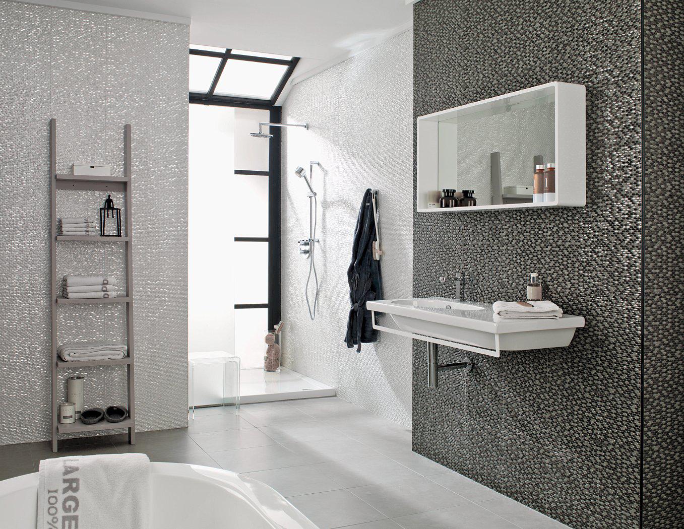 gri banyo duvar dekorasyonu