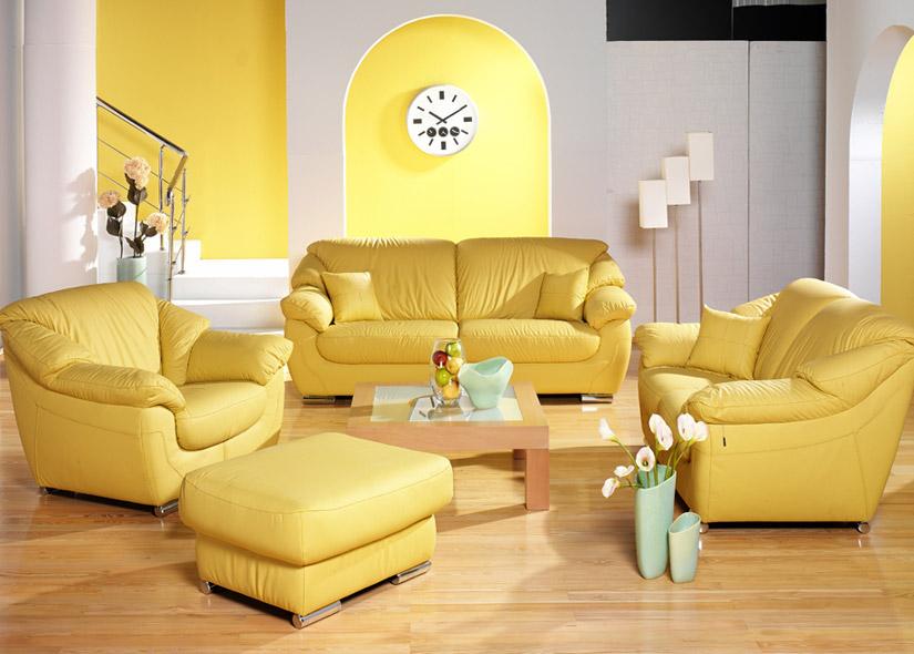 sarı modern deri koltuk takımı