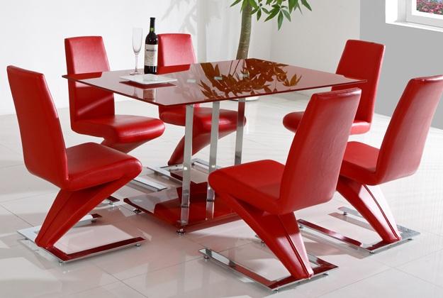 dekoratif yemek masa kırmızı sandelye modeleri